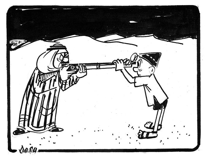 קריקטורה-סיכויי השלום מתרחקים